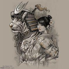 Samurai Tiger T-Shirt Designed by oBrunoMota