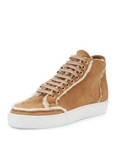 X39VH Burberry Salmond Shearling Fur High-Top Sneaker, Malt Brown
