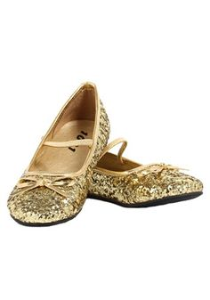 Perfect with a princess or fairy costume, these Girls Gold Glitter Ballet Flats give new meaning to the phrase ''Twinkle Toes!''