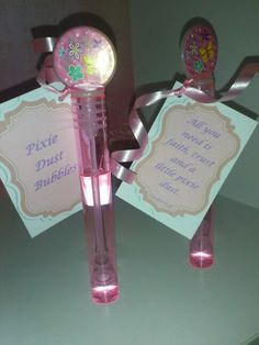 Printed Tinkerbell quote added to bubbles. Party Favors