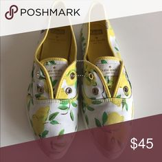 Keds for Kate Spade Lemon shoes size 9.5 These are Keds for Kate Spade shoes in size 9.5. They don't have shoelaces. There is a small red mark on the right toe that you can see in pics. They have some wear and marks but are in good condition. kate spade Shoes Sneakers