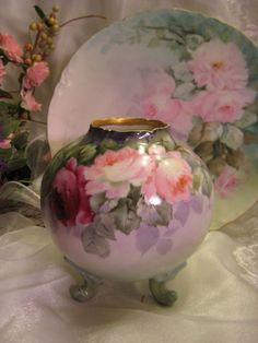 Absolutely Precious Antique Limoges France Hand Painted Petite Jardiniere ~ Master Artist signed Paul Putzki ~ Romantic Pink Tea Roses ~ Bul...