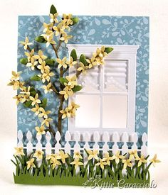 KC Sizzix Flower Forsythia 1 center, Susan Tierney Cockburn's Forsythia and Window Scene Pretty Cards, Cute Cards, Memory Box Cards, Window Cards, Quilling, Paper Cards, 3d Cards, Marianne Design, Card Sketches
