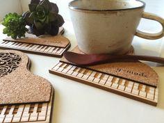 しろ鍵盤⁺ピアノコースター 4mai set   ハンドメイド、手作り作品の通販 minne(ミンネ)