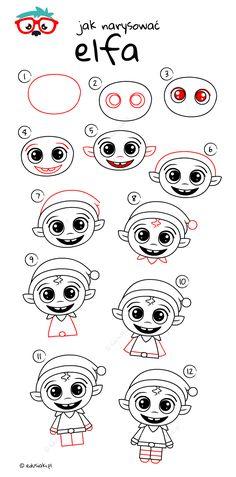 Jak Narysować Elfa - Instrukcja Krok Po Kroku #jakrysowac #edusiaki #naukarysowania #rysowaniedladzieci #diydladzieci Christmas Time, Elf, Bullet, Draw, Cards, To Draw, Elves, Sketches, Maps