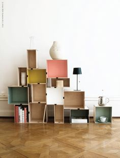 Ikea Wooden Boxes; paint the insides and clip together via konfettiform.blogspot.