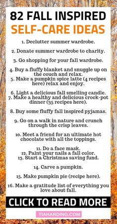 Fall Self-Care Ideas - Tia Harding 82 Fall inspired self-care Fall inspired self-care ideas. 25 self worth quotes and self love quotes to build confidence and help with low self esteem. Improve Mental Health, Self Care Activities, Care Quotes, Smile Quotes, Quotes Quotes, Self Care Routine, Autumn Inspiration, Autumn Ideas, Positive Mindset