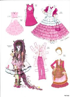 """Pink! Dress a Doll"" (3 of 8) paper doll by Charlotte Whatley, costumes by many diff. designers | Övriga 3 | Maggans nostalgiska klippdockor"