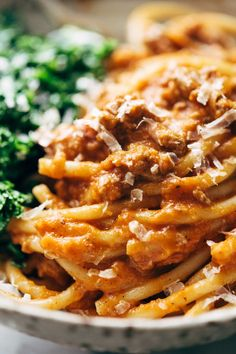 Creamy Pumpkin Spaghetti with Garlic Kale - this is a crazy good combination! Totally from scratch, wholesome ingredients - I love this recipe! | pinchofyum.com