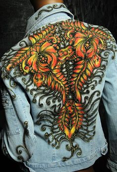 Woman hand painted jean jacket | Clothing, Shoes & Accessories, Women's Clothing, Coats & Jackets | eBay!