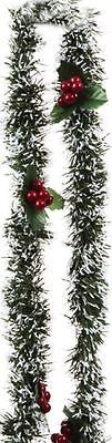 2m Holly Berry Snow Tips Green Tinsel Garland Christmas Tree Decorations Festive