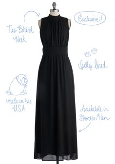 Windy City Maxi Dress in Black. Wow everyone on Wacker Drive by wearing this super-chic, sleeveless maxi dress, which ties behind your neck in a bow. #black #wedding #bridesmaid #modcloth