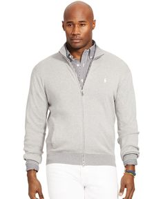 Polo Ralph Lauren Big and Tall Full-Zip Pima Sweater