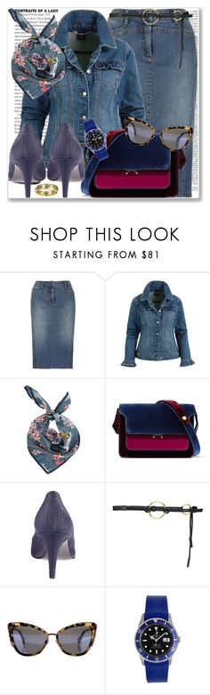 """""""Denim 1.09"""" by rosalol ❤ liked on Polyvore featuring Marni, Marc Jacobs, Rolex and Bling Jewelry"""