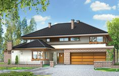 Projekt domu Willa z basenem Home Fashion, Gazebo, Outdoor Structures, Cabin, Mansions, House Styles, Home Decor, Kiosk, Decoration Home