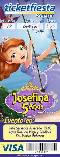 Plantilla de Invitación tipo Ticketmaster con el tema de la Princesa Sofia