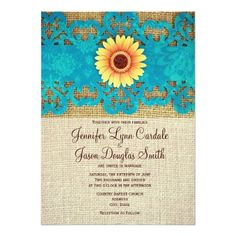 Matching RSVP Cards |  This unique rustic country wedding invitations have a teal turquoise blue heart shaped paper punch design with a yellow daisy flower.  The background is a burlap print.  This is a flat printed invitation, even though it looks like a layered invite, it's not.  Everything is just a printed design.  The back of the invitation has a burlap print.