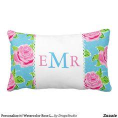 Personalize it! Watercolor Rose Lace Ocean pillow