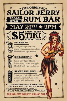 3 Sailor Jerry Spiced Rum recipes: Deckhand, 124 / Section T & Spiced Rum Buck. Sailor Jerry Takes Over Rum Bar. Sailor Jerry Tiki Concoctions. Hula girl poster. Site no longer exists.