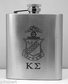 Kappa Sigma Fraternity Laser Engraved Crest Eight Ounce Brushed Stainless Steel Flask  available in Good Things From Louisiana, an ebay store.