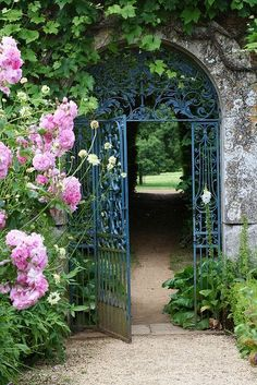 Secret garden gate, just beautiful! Diy Garden, Garden Cottage, Dream Garden, Garden Landscaping, Blue Garden, Landscaping Design, Garden Entrance, Garden Doors, Iron Garden Gates