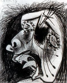 1937 Picasso 24 mai Tête de femme en pleurs, May 24 Tête of woman in tears Etude pour Guernica Dessin Crayon et gouache sur papier 29,2x23,1 cm. #Cubismo #Art #XXs @deFharo
