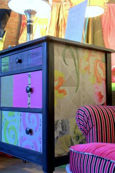Decoupaged Vintage Dresser by Jane Hall Hall Furniture, Decoupage Furniture, Funky Furniture, Repurposed Furniture, Furniture Projects, Furniture Making, Furniture Makeover, Painted Furniture, Diy Projects