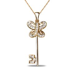 Ebay NissoniJewelry presents - Ladies 1/6CT Diamond Key Pendant in 14k Pink  White Gold with Gold Chain    Model Number:ASP10123PW    http://www.ebay.com/itm/Ladies-1-6CT-Diamond-Key-Pendant-in-14k-Pink-White-Gold/221630531481