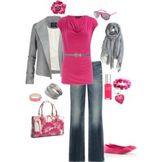 """Pink and Gray"" on Polyvore"