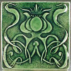 """Art nouveau tile, flower tile, 6 1/8"""" x 6 1/8"""", green ceramic art tile, ceramic tile, wall tile, accent tile, backsplash tile, kitchen tile by CampbellTileworks on Etsy"""