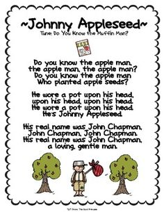 Johnny Appleseed song: write on chart and track print/ apple unit Preschool Apple Theme, Apple Activities, Preschool Music, Fall Preschool, Preschool Activities, Preschool Apples, Book Activities, Johnny Appleseed Song, September Themes