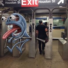 Ben Rubin dessine des monstres à côté des passagers du metro  Dessein de dessin