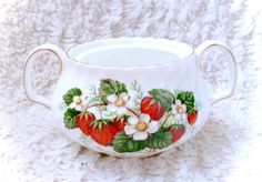 An absolutely GORGEOUS strawberry patch patterned Adderley china gravy dish. Gorgeous condition for its age. Minimal/minor flaws only. Please see all pictures up close for a thorough representation! :) I have TONS more cute vintage items like this one for sale in my Etsy shop - check it out for super cheap shipping discounts! (Nearly free!)  I ship WORLDWIDE from a clean, pet & smoke-free home! Please note that shipping times will be slower OUTSIDE of the US & Canada (up to 3 months), and…