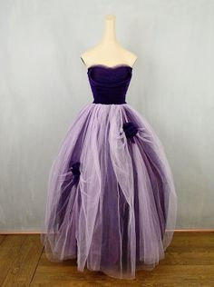 1950's Purple Velvet Shelf Bust Tulle Party by ManyAMoonVintage, $126.95