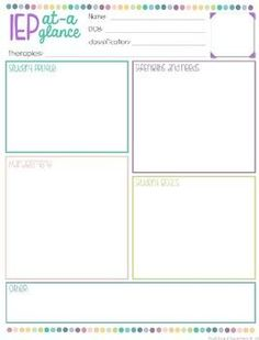 FREEBIE An IEP at a Glance form is a fantastic resource to give to the IEP team to help them have a one page sheet. This also helps for the staff within the room as a quick reminder of student needs. This is completely editable, just add text boxes !! This resource is one page only