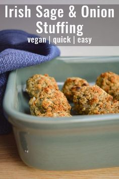 This easy vegan stuffing recipe is Irish-style and comes together in minutes! Bake in a tray or make into stuffing balls, whichever you prefer. Go on, who doesn't love bite of soft herbed bread goodness? Sage And Onion Stuffing, Vegan Stuffing, Stuffing Recipes For Thanksgiving, Christmas Recipes, Vegan Roast Dinner, Easy Vegetarian Dinner, Veggie Dinner, Vegan Dinner Recipes, Vegetarian Food