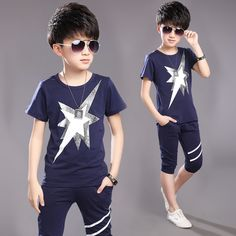 Boy summer sets short sleeve big child T-shirt CH02716 - Yaaku.com