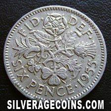 Six Pence 1955 - no value