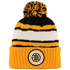 Boston Bruins Mitchell & Ness Quilted Crown Jersey Stripe Hi-Five Cuffed Knit Hat with Pom - Gold/Black - $23.99
