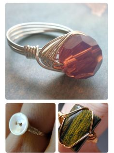 DIY rings with craft wire, beads, stones.  Creative jewelry - Really like the bottom right-hand one.