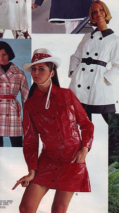 Red Vinyl mini-skirted suit with jaunty hat. This look has it all. From the Spiegel 1970 S/S catalog.  Regine Jaffrey and Cay Sanderson.