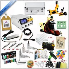 69.00$  Watch now - http://ali4el.worldwells.pw/go.php?t=32462980132 - Factory Complete Tattoo Kit 1 Pro Rotary Machine1 cast tattoo Guns7 Inks dc Power Supply tattoo  Needle Grips TTKS-032 69.00$