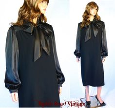 Vtg 60's 70's Black Satin and Wool Mad Men Ascot Bow Party Cocktail Dress XL/2XL
