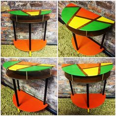 Autumn-inspired hand painted retro half-moon table by The Old Barnyard at Amorini