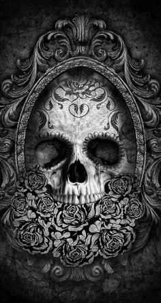 Skull & Gothic Art ☠️ Artwork to inspire drawings for our new wallpaper design. Inspired by the macabre. Digital Art Illustration, Caveira Mexicana Tattoo, Desenhos Halloween, Totenkopf Tattoos, Skull Artwork, Gothic Artwork, Dark Artwork, Skull Wallpaper, Gothic Wallpaper