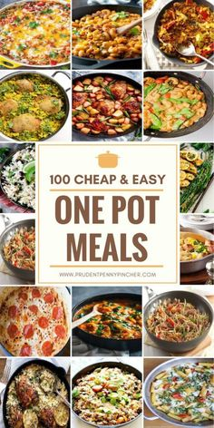 These cheap and easy one pot meals are perfect for busy families. With only one pot needed to make these delicious dinners, cooking and clean up will be a breeze! These one pot meals include pasta, One Pot Dinners, Easy One Pot Meals, Cheap Easy Meals, Frugal Meals, Easy Dinner Recipes, Inexpensive Meals, Cheap Recipes, Budget Recipes, Freezer Meals