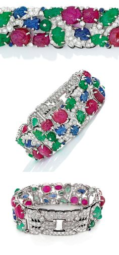 Several views of an Art Deco Cartier Tutti Frutti bracelet, circa 1930. Diamonds with carved rubies, emeralds, and sapphires. Ring Bracelet, Bracelets, How To Wear Rings, Layered Jewelry, Art Deco Era, Tutti Frutti, Jewel Box, Emeralds, Jewelry Trends