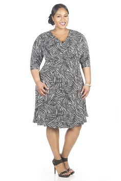 Glamour Womens Plus Size Elbow Sleeve Fit and Flare Dress >>> Awesome product. Click the image : Plus size dresses