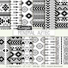 "Aztec digital paper: ""MINIMAL AZTEC"" aztec patterns tribal backgrounds geometric black white digital triangles minimal lines simple (4.90 USD) by Grepic"