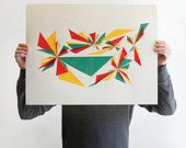 Abstract Geometric Screen Print poster